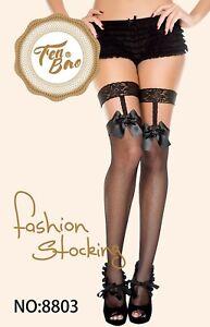 Cute Women Mesh Lingerie Garter Belt Fishnet Thigh High Stocking Lace Pantyhose