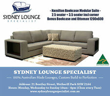 Brand New - AUS MADE Hamilton Bookcase Modular Lounge Suite with Bonus Ottoman