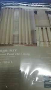 "Montgomery 108"" Grommet Window Curtain Panel - Ivory-discount-1 pamel"