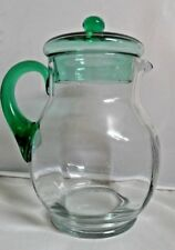 Vintage Depression Glass Ice Tea Ball Picher with Green Lid and Handle