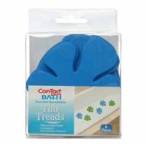 """Con-Tact Brand Pack of Six Non-Adhesive Tub Treads, Blue Flowers, 4.25"""" x 3.75"""""""