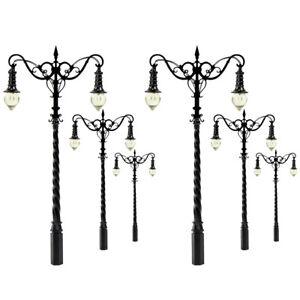 6pcs Model Railroad HO OO Scale Lamp 1:75 Yard Street Light Two-heads Warm White