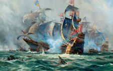 Framed Print-Galleon Class était Ships Battling in the Open Sea (Picture Poster)