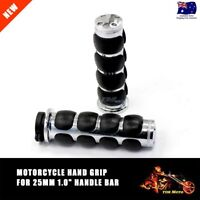 """1"""" 25mm Chrome Handlebar Grips Soft Rubbers For Harley Electra Street Glide New"""