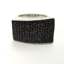 925 Sterling Silver Black Spinel Asymmetrical Crooked Rectangle Band Ring Size 7