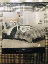 New UGG Charcoal Plaid Avery Reversal Full/Queen Comforter & 2 Shams Gray Sherpa