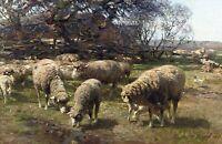 Grazing Sheep by German Heinrich von Zugel. Animals Repro on Canvas or Paper
