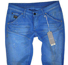 €169 NEW G-STAR W-27 L-32 GSR 5620 SLIM TAPERED BLUE AZURE JEANS Made in Italy