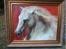 "Horse-Oil Painting-""Super Star""-Morante-Framed-Art-Certificate of  Authenticity"