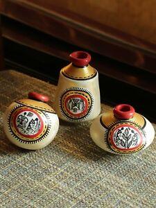 Exclusive Set of 3 White Warli Hand-Painted Earthen Showpiece DIWALI DECOR GIFT