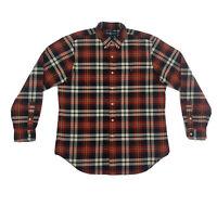 Polo Ralph Lauren Red Black Plaid Dress Shirt Mens Large Long Sleeve Button Down