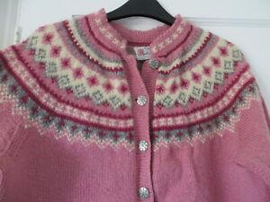 Vtg hand knit Norwegian nordic fair isle yoke 50s/ 60s dusky pink wool cardigan