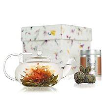 Lotus Flowering Tea Gift Set - Glass Teapot 400ml with Filter - Sampler Tin of