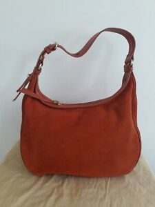 M&S Collection Orange Suede Hobo Slouch bag w35 x h 24cm