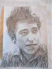 A4 Art Graphite Pencil Sketch Drawing Bob Dylan Young Striped Shirt Musician