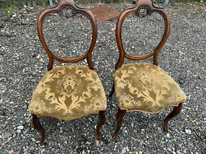 Pair of antique balloon back chairs for refurbishment green fabric seats LBE1906