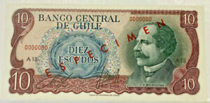 CHILE SPECIMEN BANKNOTE 1970 10 PESOS GEM UNCIRCULATED and VERY SCARCE