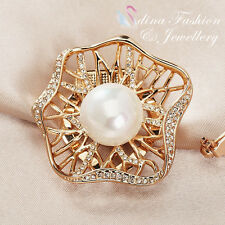 Diamond Hollow Out Lotus Leaf Scarf Buckle 18K Rose Gold Gp Simulated Pearl &