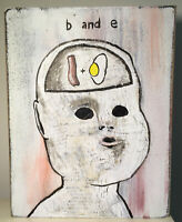 N Scott Carroll Bad Bacon & Eggs Baby creepy doll wood folk lowbrow art painting