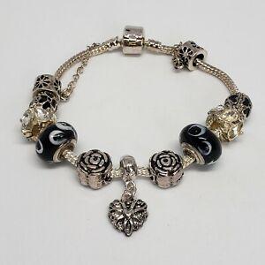 Silver Tone Add A Bead Bracelet Glass & Rhinestone Charms Statement Jewelry .