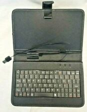 """BLACK LEATHER STAND CASE W/ USB KEYBOARD & STYLUS FOR 7"""" TABLET NEEDS USB-MICRO"""