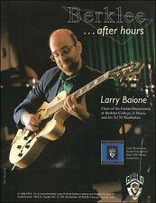 Larry Baione 1998 Guild X170 Manhattan electric guitar ad 8 x 11 advertisement