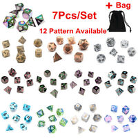 7Pcs Set Polyhedral Dice with Bag for DND RPG MTG Role Playing Board Game UK TI