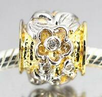 Cz Flower and Leaf Bloom 925 Sterling Silver Two Tone BEAD For Charm Bracelet AU