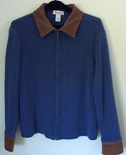 WESTBOUND Heavy Knit Zip Front Sweater Blue Size XL Faux Suede Collar and Cuffs