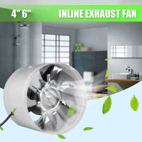 4/6 Inch Inline Duct Fan Booster Exhaust Blower Air Cooling Vent Metal Blades US