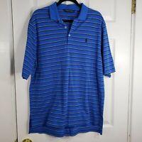 RALPH LAUREN POLO GOLF Size Large Blue Stripe Mens Shirt Top Short Sleeve Pima