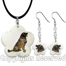 Leonberger Dog Mother Of Pearl Flower Necklace And Earrings Jewellery Set M16