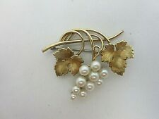 Vintage Antique Krementz Gold Filled and Pearl Pin Brooch Grapes Grape Leaves