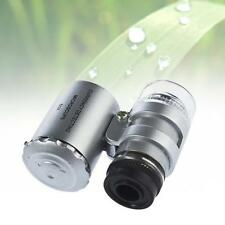 Argento Mini 60X Zoom A LED Illuminata Microscopio Tascabile Ingrandisce MicrP