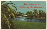 1960s Vintage Postcard Fort Lauderdale Venice Of The Americas Florida FL Boat