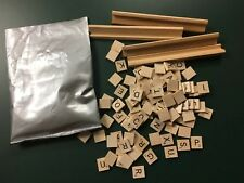 SCRABBLE Game Lot Of wood Letter Tiles Holders Silver Bag GAME PIECES Travel New