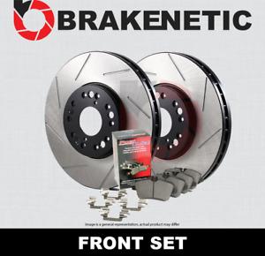 [FRONT] BRAKENETIC PREMIUM SLOTTED Brake Rotors+POSI QUIET Ceramic Pads BPK73041