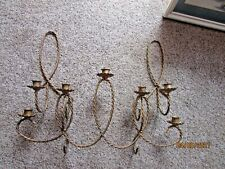 3 Home Interior Homco Twisted Rope Metal Sconce Candle Holders