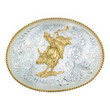 Montana Silversmiths Bull Rider Riding Gold German Silver Engraved Belt Buckle
