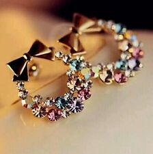 #1117New Fashion Rhinestone Colorful Rhinestone Bow Vintage Stud Earrings