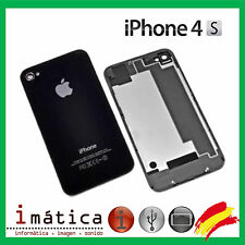 TAPA BATERIA IPHONE 4S TRASERA DETRAS NEGRO NEGRA CRISTAL BACK COVER BATTERY