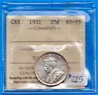 Canada 1931 25 Cents Twenty Five Cent Silver Coin - ICCS AU-55
