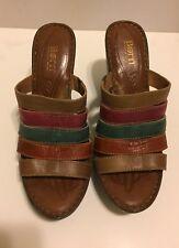 Born 10/42 Multi Color Strap Leather Platform Wedge Sandals Slides Nice!