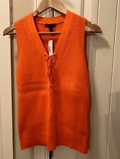 J. Crew Robbed Lace-Up Sweater Tank cerise orange-red sold out MEDIUM NWT $88