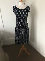 laura ashley polka dot dress Navy White Size 8