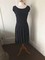 laura ashley polka dot dress Navy White Size 8