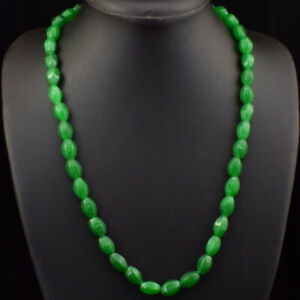 Beautiful 245.00 Cts Earth Mined Green Emerald Oval Beads Necklace JK 50E174