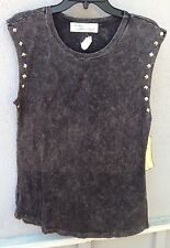 $52 NWT Vintage Havana Studded Sleeveless Gray Black Solid Burn Out Tee Size M