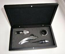 Sumiller vino de acero inoxidable de 4 piezas conjunto de herramientas en caja de presentación negro