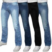 Mens Basic Regular Fit Stretch Jeans Straight Leg Work Denim Big Tall All Waist